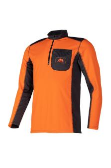 T-Shirt Langarm 2 Farben, leucht orange/anthr, Gr. M