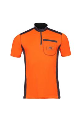 T-Shirt Kurzarm 2 Farben, leucht orange/anthr, Gr. M